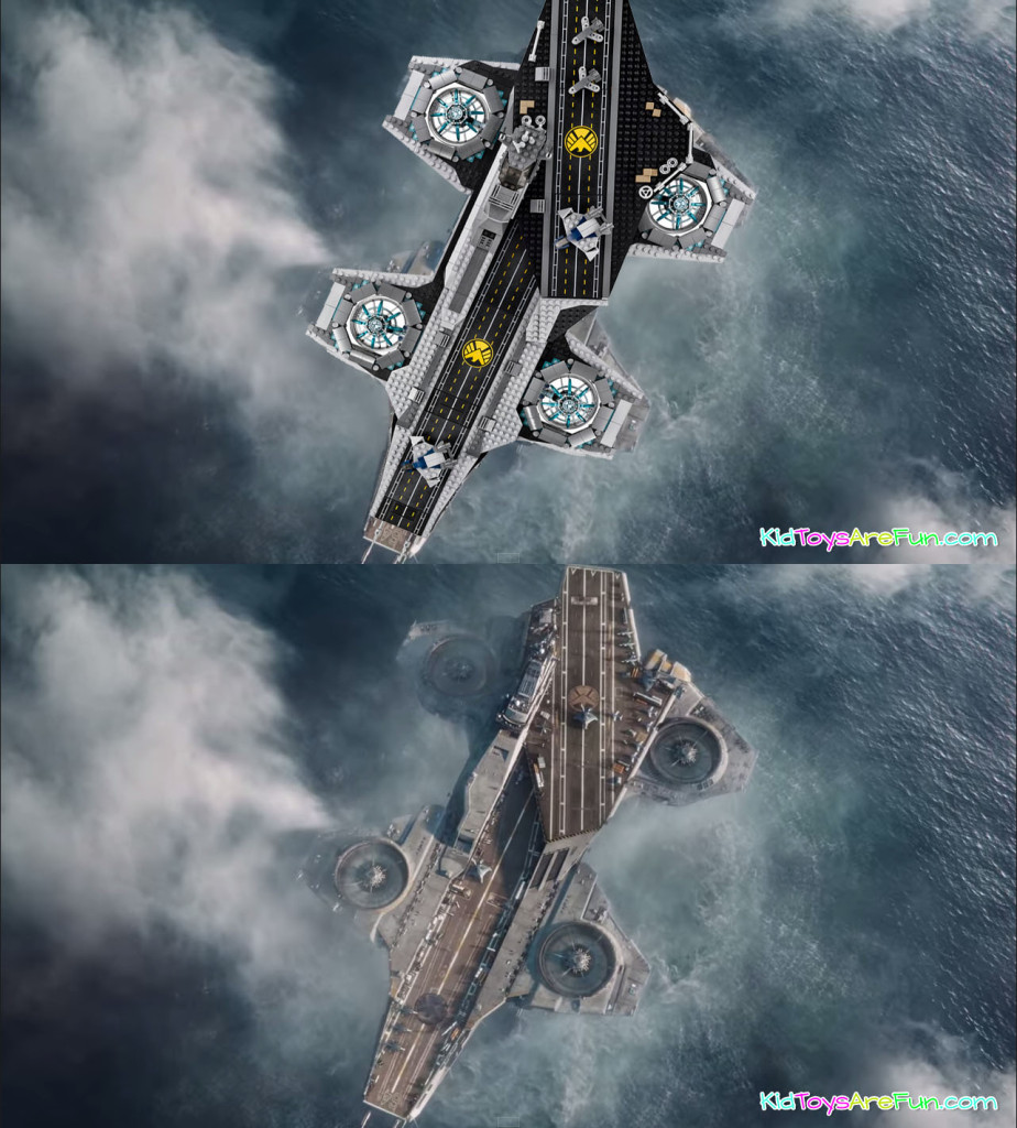 The SHIELD Helicarrier 76042 and Avenger film Helicarrier comparrison