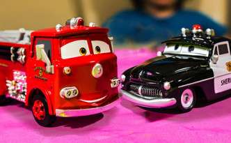 Red Fire Truck and Sheriff Police car from Disney Cars Pixar Movie