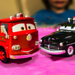 Disney CARS Movie Police Car and Fire Truck Toys, Sheriff and Red - Kid Toys Are Fun