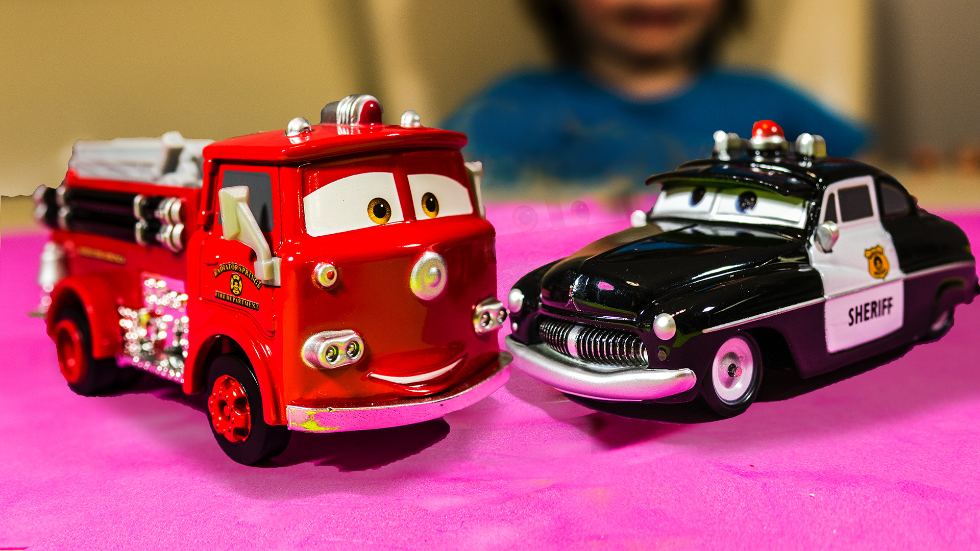 Disney Cars Movie Police Car And Fire Truck Toys Sheriff And Red