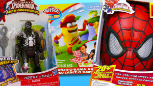 Talking Spiderman Mask Playdoh Launch-O-Rama Game and Venom Model