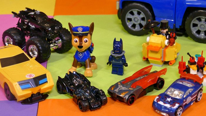 Bumblebee toy, Paw Patrol toy, Batman LEGO toy, Captain America Hot Wheels, Thor, Batman Hot Wheels