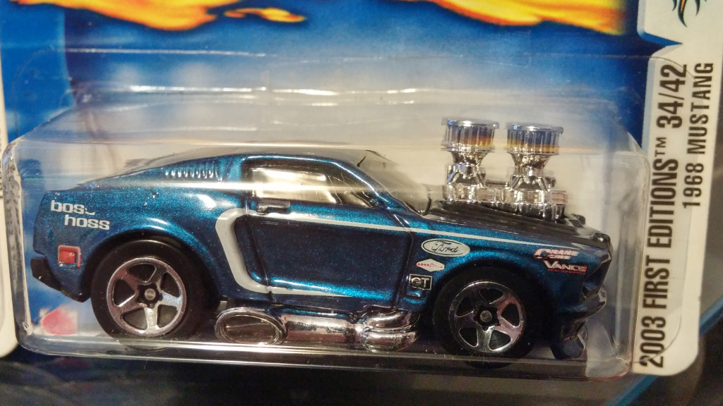 """A 2003 First Edition """"1968 Mustang"""" with missing some decals."""