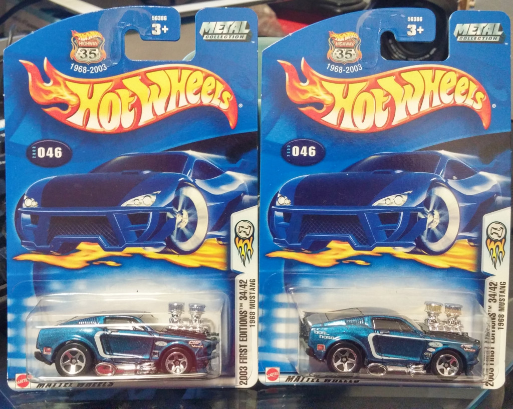 "Both 2003 First Edition ""1968 Mustang""'s together, left car has less decals."